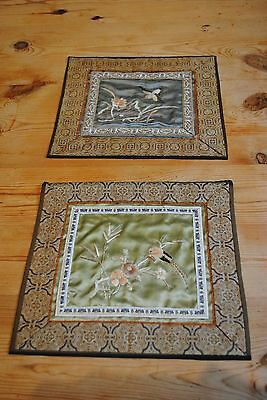 Pair of Antique Chinese silk hand embroidered textile wall hanging