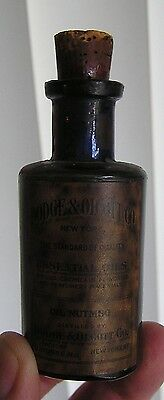"2 Tone Cobalt Blue Label Only "" Oil Of Nutmeg "", Dodge & Olcott & Co., New York"