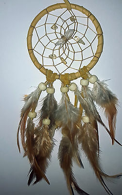 """Vision Seeker Dreamcatcher 3"""" CITRONE (YELLOW) with crystal HANDMADE BY ME"""