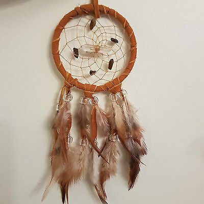 """Vision Seeker Dreamcatcher 3"""" TIGER EYE (BROWN) with crystal HANDMADE BY ME"""