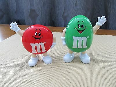 M&M's vintage 1991 pair of candy dispensers - Red Plain & Green Peanut