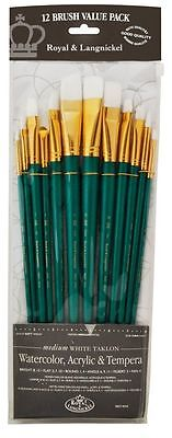 Royal Set 12 Large White Artists Brushes.LONG Handle.Acrylic Water Oil RSET-9316