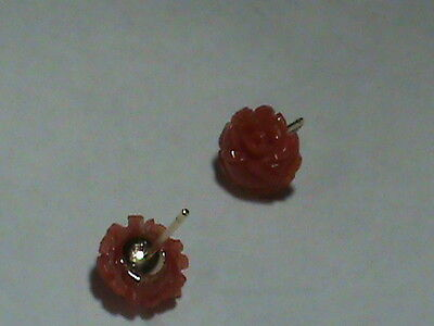 Super Fine Hand Carved AKA Red Coral Rose earrings 14kt GOLD w/  RICH Color!