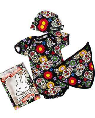 Sugar Skulls Baby Gift Set Shoes Bandanna Bib Teether Rockabilly Gothic Cool Alt