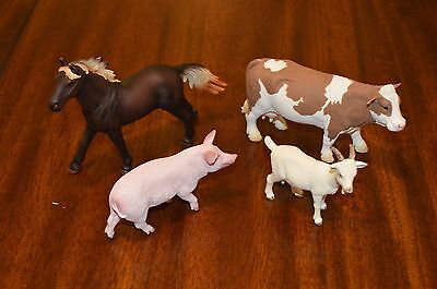 Schleich Collectible Farm Animals Figurines - Lot of Horse, Cow, Pig, and Goat.
