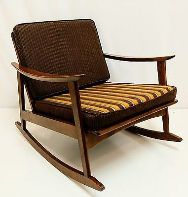 GORGEOUS ~ Vintage 1950s Mid Century Danish Modern Teak Rocker Rocking Chair