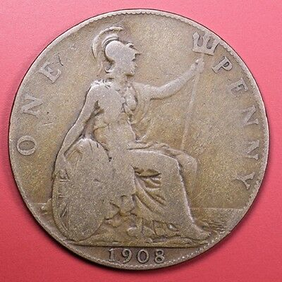 1908 Great Britain one penny Foreign Coin  - Free S&H