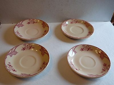 4 Rose Point Inca Ware Shenango China Saucers