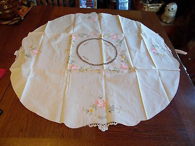 """34"""" Round Spring Flower Cross Stitch Embroidery Tablecloth"""