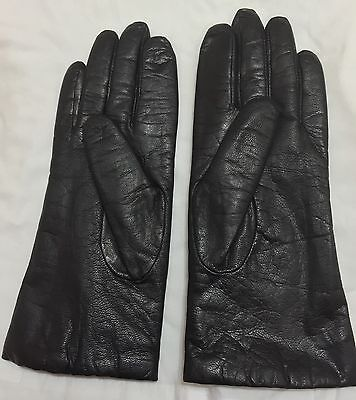 Genuine Leather Gloves~Black~Cashmere Lined~Women's Size 7 1/2