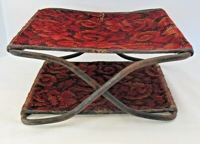 Antique Victorian buggy foot stool rest w/ antique tapestry rug fabric folding