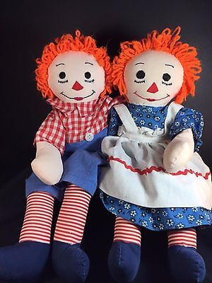 "Hand Made RAGGEDY ANN & ANDY Dolls - Sewn Faces - 18"" Tall"
