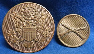 WWI Era 1920s Army Infantry Enlisted Disc and Hat Badge Lot Of 2 by Meyer