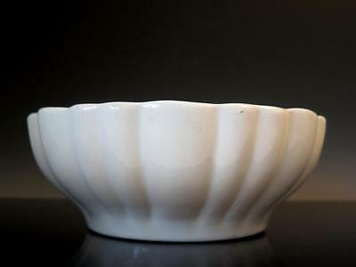 """Antique White Ironstone Fluted Loped Scalloped Serving Dish Bowl 8"""""""