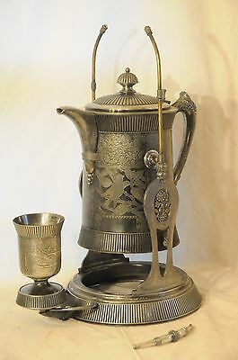 Antique Meriden Quadruple Silverplated Tilting Water Pitcher With Stand & Goblet