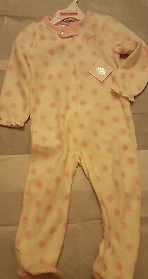 Juicy Couture Toddler Girl Footed Blanket Sleeper ~ White with Pink Dots ~ 2t