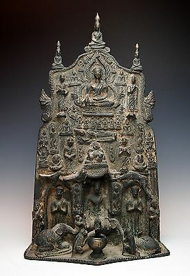 SPECTACULAR ANTIQUE BRONZE BUDDHIST ALTAR STATUE Burmese Votive Offering Stele