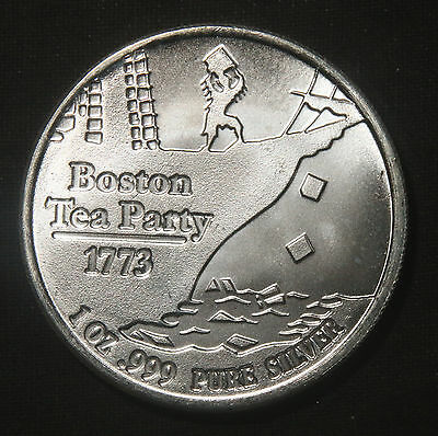 "Boston Tea Party 1 Oz .999 Silver Round ""don't Tread On Me""  Lot 231133"