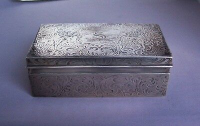 Ornate Sterling Silver Wood Lined Box Engraved with Lions