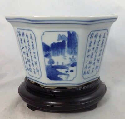 "Vintage Chinese Blue and White Porcelain Octagon Flower Pot 8.25"" D x 5"" H"