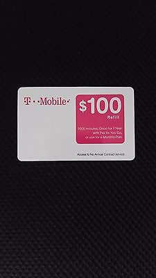New - Unscratched T-Mobile tmobile $100 PREPAID REFILL CARD
