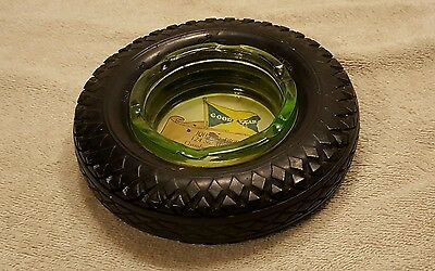 Vintage Goodyear Tire Ashtray Green Depression Glass Good Year Airwheel
