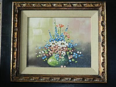 Vintage Antique Painting Oil On Canvas Flowers Vase Signed By Ciceri Frame 18X19