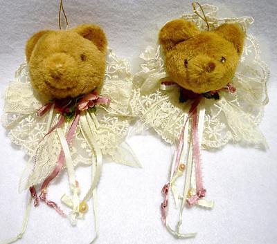 Lot/2 Vintage Victorian Teddy Bear Christmas Ornaments W/lace, Satin Ribbons