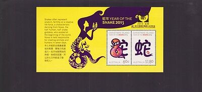 2013 Year Of The Snake Mini Stamp Sheet Christmas Island Australia luna