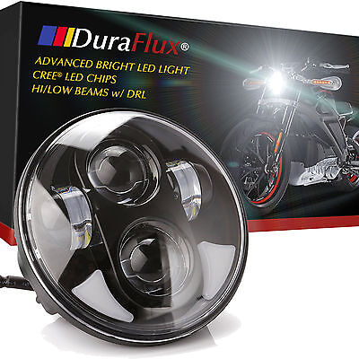 "DuraFlux 5.75"" 5 3/4 CREE LED Headlight Black Round w/ DRL for Harley Davidson"
