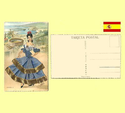 1960s Malaga Andalusia Spain - Elsi Gumier Embroidered Silk Costume Postcard NM