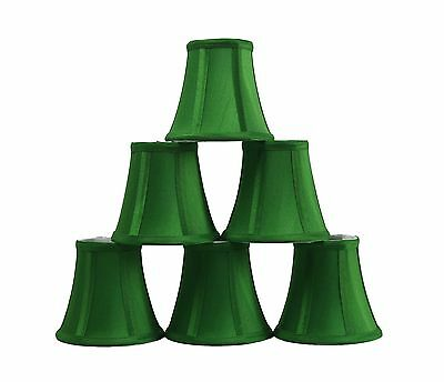 Furnishland Set of 6 Green Chandelier shade,  Faux Silk, Bell Shape, Clip on