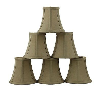 Furnishland Set of 6 Golden Taupe Chandelier shade,  Faux Silk, Bell Shape