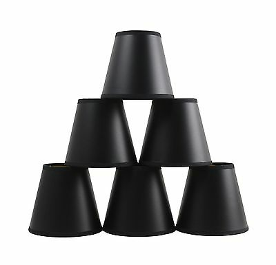 Furnishland Set of 6 Black Parchment Chandelier Lampshade with Gold Paper Liner