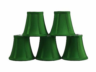 Furnishland Set of 5 Green Chandelier shade,  Faux Silk, Bell Shape, Clip on