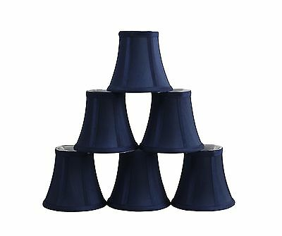 Furnishland Set of 6 Navy Blue Chandelier shade,  Faux Silk, Bell Shape, Clip on