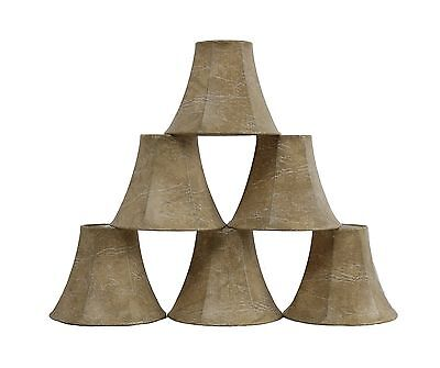 Furnishland Set of 6 Faux Leather Chandelier shade,  Bell Shape, Clip on