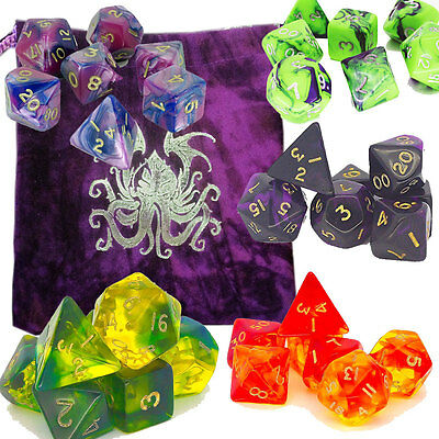 Poly Dice sets for RPGs - Roleplayers 7 dice with purple CTHULHU BAG