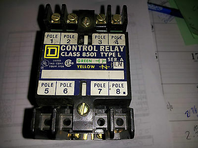 Square D Used 8501L020 Control 4 Pole Relay Great Condition