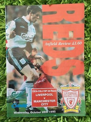 LIVERPOOL FC v Manchester City  Programme 25 Oct 1995 Anfield Review Coca Cola