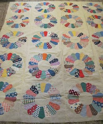 Antique Dresden Plate Quilt Top Beautiful BRIGHT & Unused
