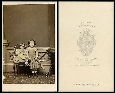 TWO CHARMING GIRLS WITH DOLL & ca 1860's CDV PHOTO PORTRAIT BY STUART, GLASGOW