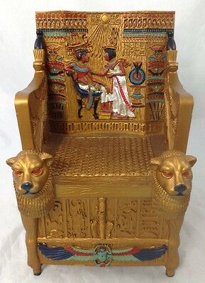New Ancient Egyptian King Tut's Golden Throne Treasure Box By Design Toscano