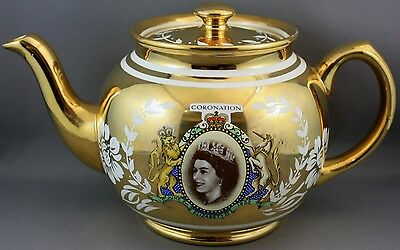 Sadler Commenorative Gold Teapot-Queen Elizabeth Ii Cororantion 1953