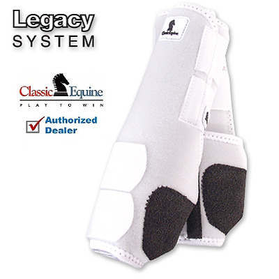 Classic Equine LEGACY SYSTEM White Front M SMB Leg Vented Neoprene Sport Boots