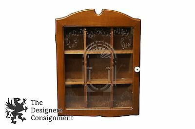 Vintage Wall Curio Display Cabinet Trinket Holder Etched Glass Music Knick  Knack