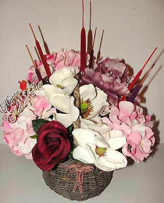 Silk Arrangement Country Basket Mothers Day Flowers Cattails Magnolia Hydrangea