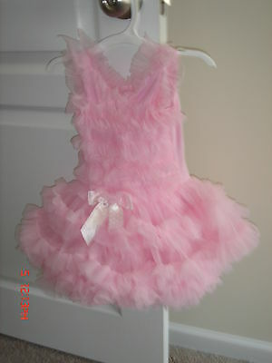 Popatu  Infant Girls Pink Tutu Bodysuit Dress Size 12 Months EUC