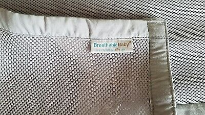 Breathable Mesh Crib Bedding Liner Bumper Gray Nursery Room Baby