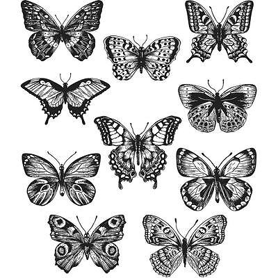 """NEW Tim Holtz Stampers Anonymous """"FLUTTER"""" Butterflies Rubber Cling Stamp Set"""